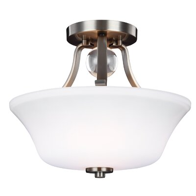Scheider 2-Light Semi Flush Mount Finish: Satin Nickel