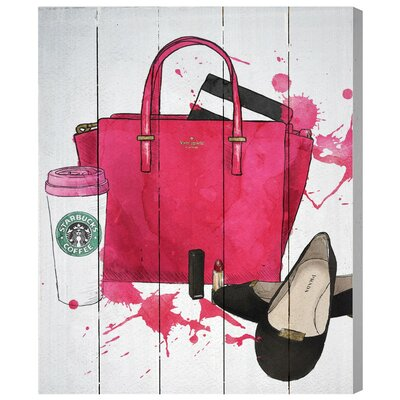Bags, Shoes, and Coffee Painting Print Plaque