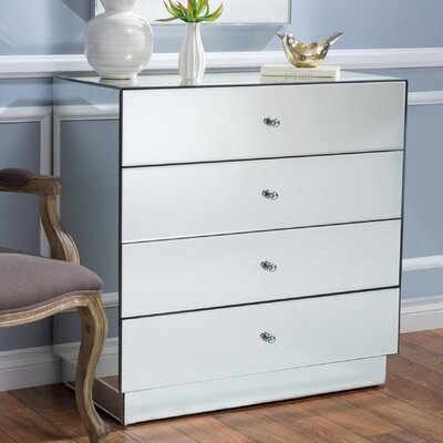 Rafe 4 Drawer Mirrored Chest