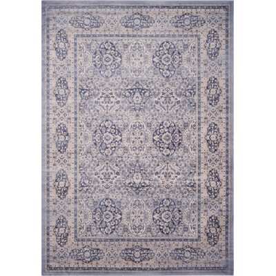 Laplaigne Blue / Ivory Area Rug Rug Size: Rectangle 51 x 77