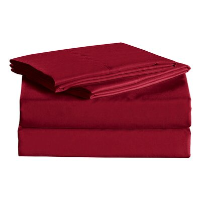 Julien 1600 Thread Count Sheet Set Color: Burgundy, Size: King
