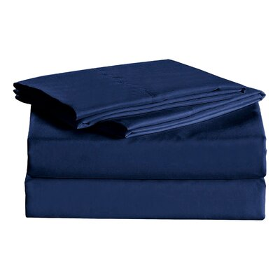 Julien 1600 Thread Count Sheet Set Size: Twin, Color: Navy Blue