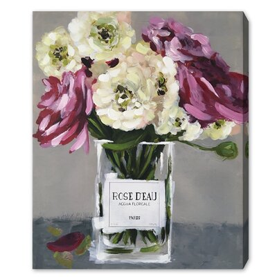 Acqua Floral Painting Print on Wrapped Canvas