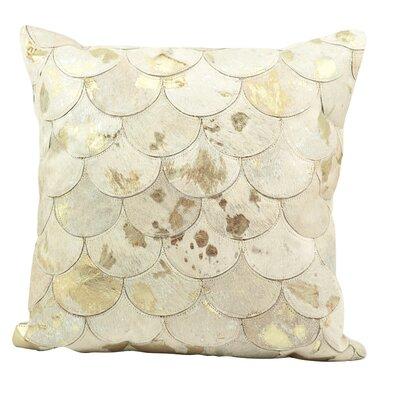 Rippy Metallic Balloons Leather Throw Pillow Color: White/Gold