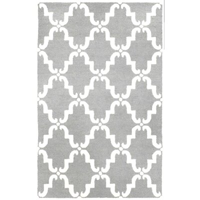 Stambruges Hand Tufted Wool Gray/White Area Rug Rug Size: 76 x 96