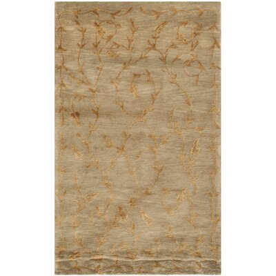 Echevarria Hand-Knotted Green/Gold Area Rug