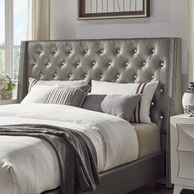 Hazel Upholstered Wingback Headboard Size: Queen, Upholstery Color: Silver Gray
