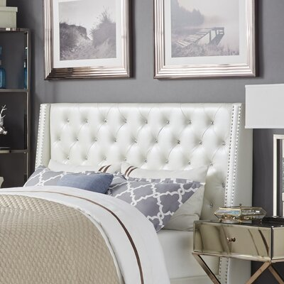 Hazel Upholstered Wingback Headboard Size: Full, Upholstery Color: Ivory White