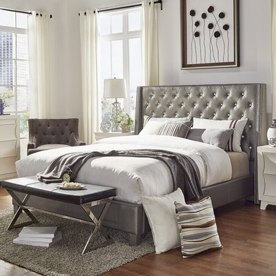 Swanson Upholstered Platform Bed Size: Full, Color: Ivory