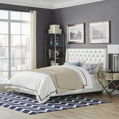 Swanson Upholstered Platform Bed Size: Queen, Upholstery Color: Ivory White