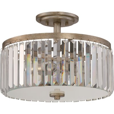 Hudson 3-Light Semi Flush Mount Size: 11.25 H x14.75 W x 14.75 D