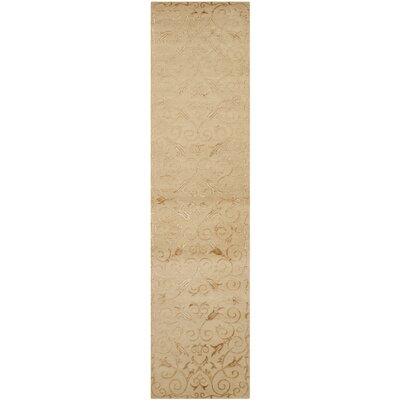 New Mills Hand-Knotted Light Gold Area Rug Rug Size: Runner 26 x 12