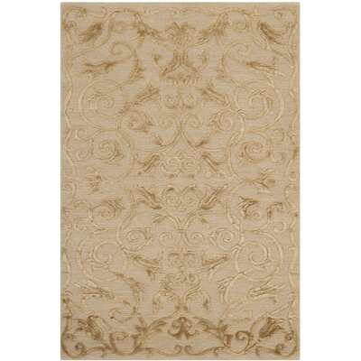 New Mills Hand-Knotted Light Gold Area Rug Rug Size: 3 x 5