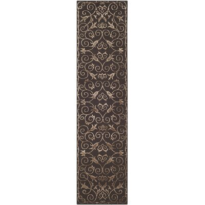 Hubert Hand-Knotted Chocolate Area Rug Rug Size: Runner 26 x 10