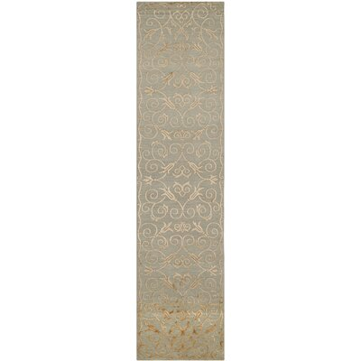 Naninne Hand-Knotted Slate/Gold Area Rug Rug Size: Runner 26 x 10