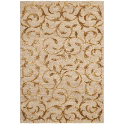 Cheston Hand-Knotted Gold Area Rug Rug Size: 4 x 6