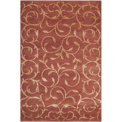 Osbourne Hand-Knotted Rust/Gold Area Rug Rug Size: 2 x 3