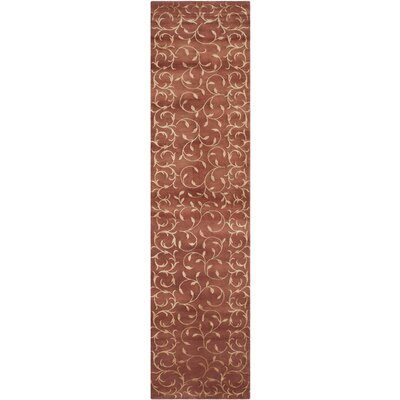Echevarria Hand-Knotted Rust/Gold Area Rug Rug Size: Runner 26 x 10