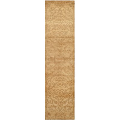 Etienne Hand-Knotted Light Gold Area Rug Rug Size: Runner 26 x 10