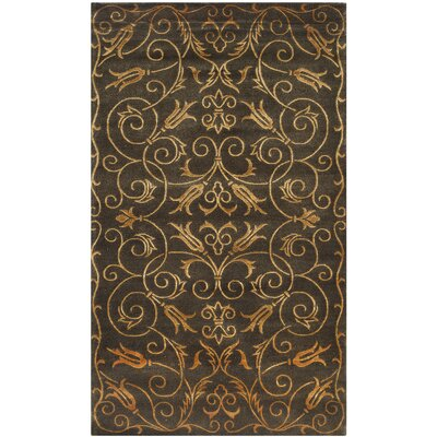 Winkel Hand-Knotted Black/Gold Area Rug Rug Size: Rectangle 4 x 6