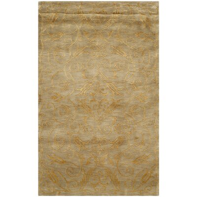 Grandidier Hand-Knotted Green/Gold Area Rug Rug Size: Rectangle 10 x 14
