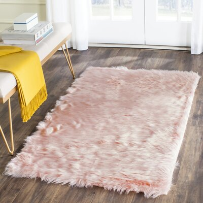 Anthony  Fur Pink Area Rug Rug Size: Runner 26 x 6