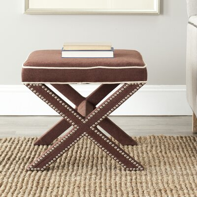 Morrison Wood Ottoman Upholstery: Chocolate Brown