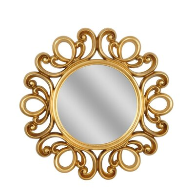Round Gold Lace Mirror