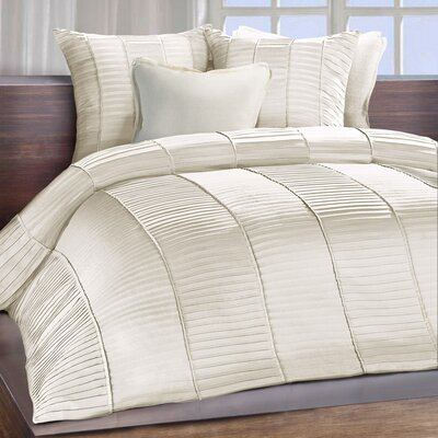 Clare Sateen Ambi Ridge Pleated Duvet Cover Size: Queen, Color: Ivory