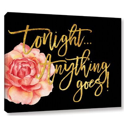 Tonight Textual Art on Wrapped Canvas