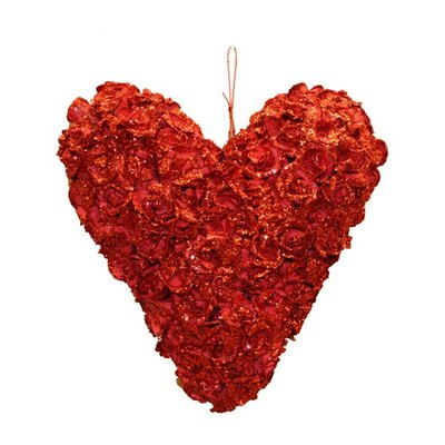 Glittery Rose Heart Sculpture Color: Red