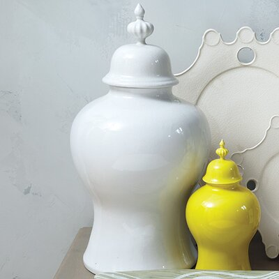 Round Porcelain Decorative Urn Size: Large, Color: White