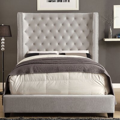 Steph Flannelette Fabric Upholstered Panel Bed Size: Queen, Color: Ivory