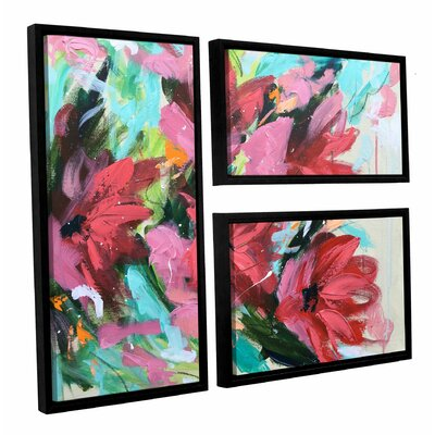 Red Flowers II 3 Piece Framed Painting Print on Canvas Set