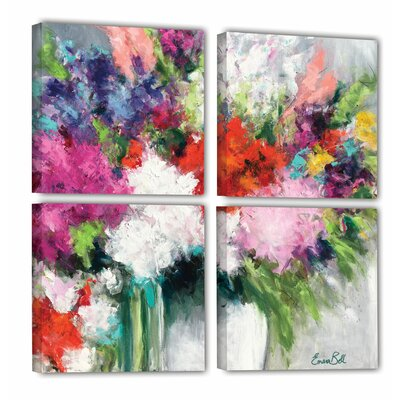 Flower Market Frenzy 4 Piece Painting Print on Wrapped Canvas Set