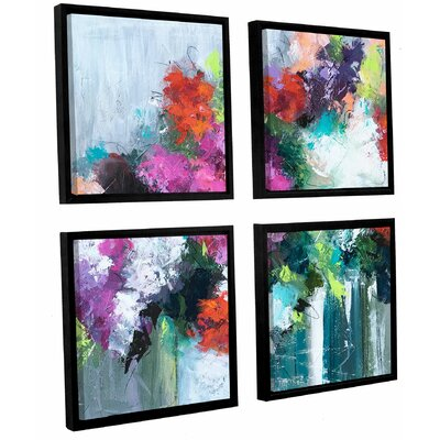 Flowers Market 4 Piece Framed Painting Print on Canvas Set Size: 36