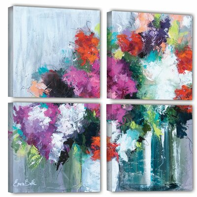 Flowers Market 4 Piece Painting Print on Wrapped Canvas Set