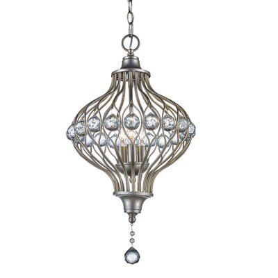 Geisler 3-Light Foyer Pendant Finish: Antique Silver Leaf