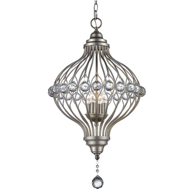 Geisler 4-Light Foyer Pendant Finish: Antique Silver Leaf