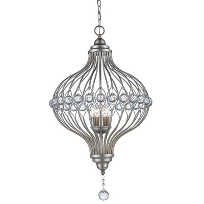 Geisler 5-Light Foyer Pendant Finish: Antique Silver Leaf