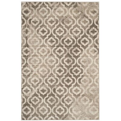 Roisin Power Loomed Gray/Ivory Area Rug Rug Size: Round 67 x 67