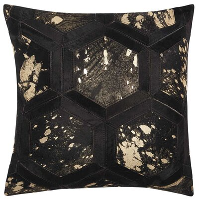Priyanka Natural Leather Hide Throw Pillow Color: Black Gold