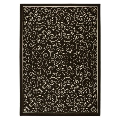 Risinger Black Indoor/Outdoor Area Rug Rug Size: Rectangle 53 x 75