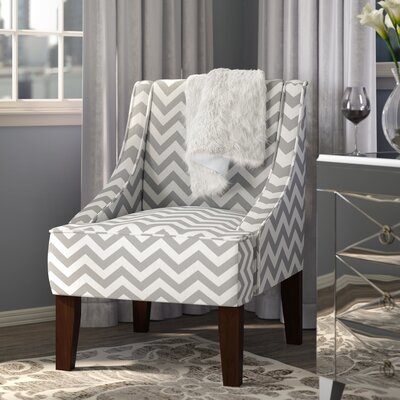 Caine Upholstered Arm Chair Upholstery: Zig Zag Ash / White