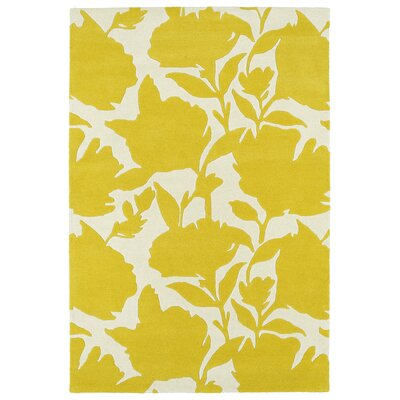 Marquain Hand-Tufted Yellow / Ivory Area Rug Rug Size: Rectangle 8 x 10