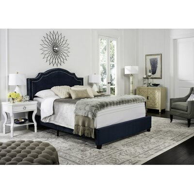 Gilbert Upholstered Panel Bed Color: Navy, Size: Queen