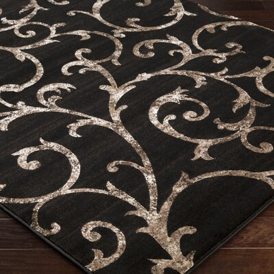 Shiffer Black Area Rug Rug Size: 53 x 76