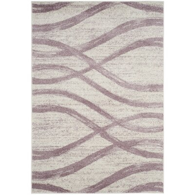 Marlee Cream/Purple Area Rug Rug Size: Rectangle 3 x 5