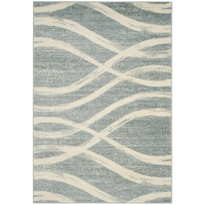 Marlee Cream/Slate Blue Area Rug Rug Size: Rectangle 6 x 9