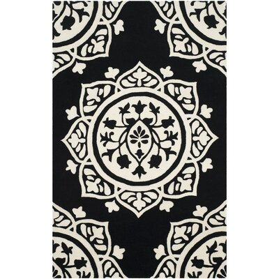Romford Hand-Tufted Black Area Rug Rug Size: Rectangle 4 x 6